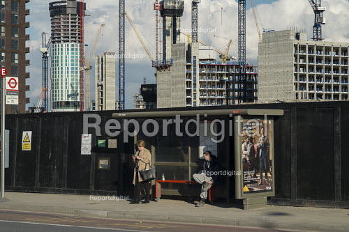 Bus stop in the 480 acre Nine Elms regeneration zone, London. The zone will include two new tube stations, a new US Embassy building, and 20,000 new homes with prices up to 9 million. - Philip Wolmuth - 2016-03-31