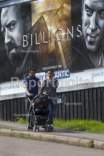 Advert for Billions a high finance drama whilst the economic gap between the rich and poor continues to widen, Cashs Lane Coventry Sky Atlantic TV channel - John Harris - 2016-05-05