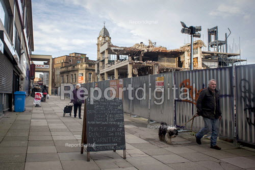 Elderly people walking past the demolition of Castle Market, Sheffield, Yorkshire - Connor Matheson - 2015-12-02