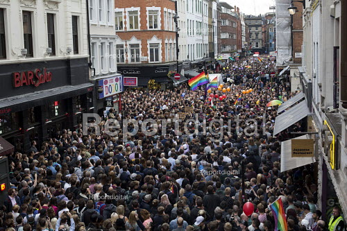 Thousands in vigil in Old Compton Street for the victims of the shooting at Pulse LGBT nightclub in Orlando, Florida. Soho, London - Jess Hurd - 2016-06-13