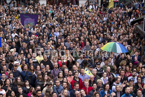 Thousands in vigil in Old Compton Street for the victims of the shooting at Pulse LGBT nightclub in Orlando, Florida. Soho, London - Jess Hurd - 2016-06-14