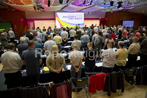 One minute silence in support of the Orlando victims and Jo Cox MP, TUC LGBT Conference, Congress House, London - Jess Hurd - 2016-06-23