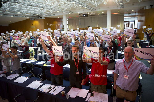 RMT and ASLEF delegates, LoveWins in support of the Orlando victims and Jo Cox MP, TUC LGBT Conference, Congress House, London - Jess Hurd - 2016-06-23