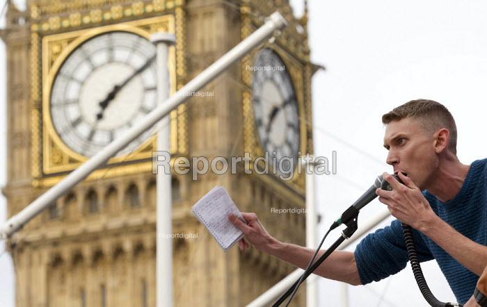 Sam Fairbairn speaking Keep Corbyn, Build Our Movement rally against Blairite leadership challenge Parliament Square, Westminster, London - Jess Hurd - 2016-06-27