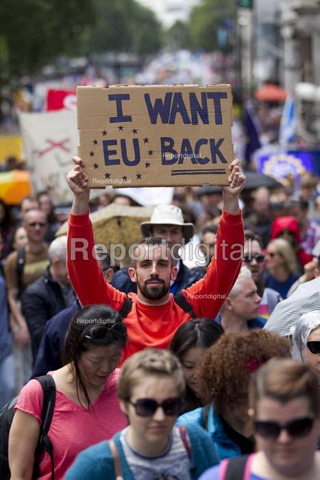 March for Europe against the Brexit EU referendum result, Central London, I want EU back - Jess Hurd - 2016-07-02