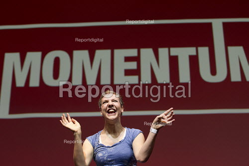 Francesca Martinez, Comedienne performing at Momentum, KeepCorbyn Labour Party rally for Jeremy Corbyn, Troxy, East London. - Jess Hurd - 2016-07-06