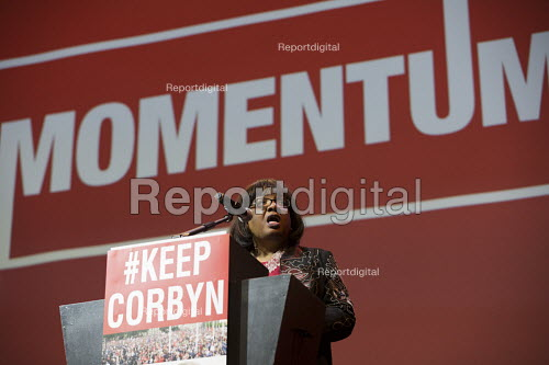Diane Abbott MP speaking at a Momentum, KeepCorbyn Labour Party rally for Jeremy Corbyn, Troxy, East London. - Jess Hurd - 2016-07-06