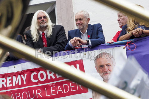 Durham Miners Gala 2016 Tosh McDonald ASLEF and Jeremy Corbyn watching the procession from the balcony of the County Hotel, Durham, Co' Durham - Mark Pinder - 2016-07-09