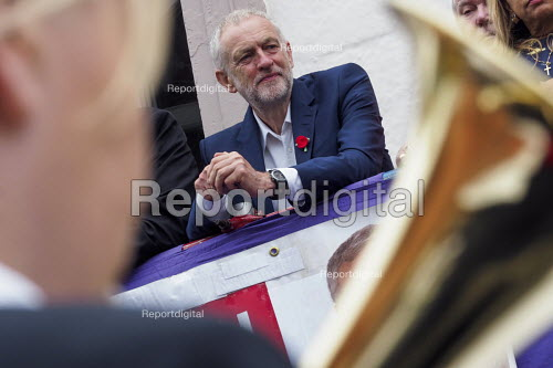 Durham Miners Gala 2016 Jeremy Corbyn watching the procession from the balcony of the County Hotel, Durham, Co' Durham - Mark Pinder - 2016-07-09