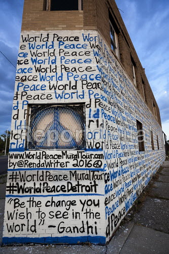 Detroit, Michigan,World Peace mural painted on the walls of a vacant building by Miami artist Renda Writer - Jim West - 2016-07-27