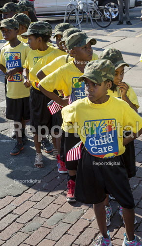 Detroit, Michigan, children waiting to march in Labor Day parade They are with members of the SEIU campaigning for a $15 wage for childcare workers - Jim West - 2016-09-05