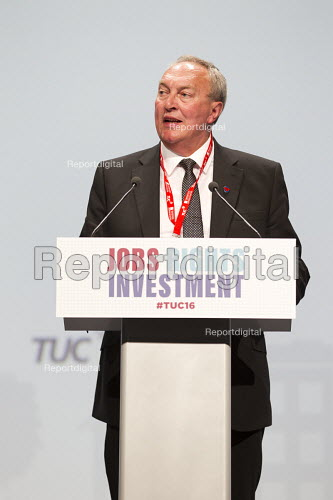 Paddy Lillis, Labour Party speaking TUC conference Brighton. - Jess Hurd - 2016-09-12