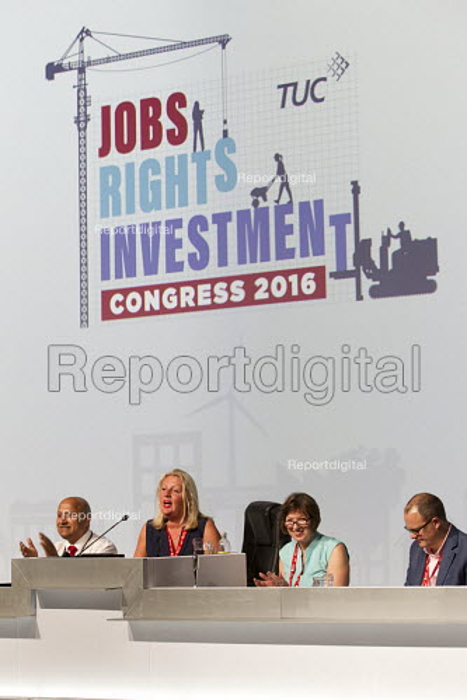 Liz Snape, President, Frances O'Grady, Gen.Sec. Paul Nowak, Deputy Gen.Sec. TUC conference Brighton - Jess Hurd - 2016-09-13