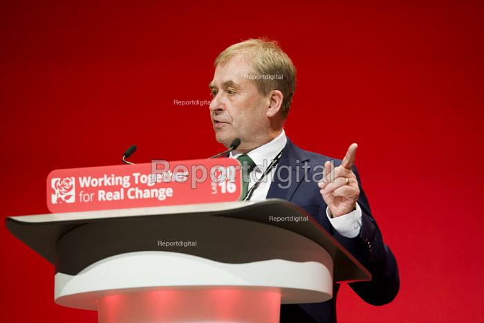 John Hannett, USDAW speaking Labour Party conference Liverpool. - Jess Hurd - 2016-09-26