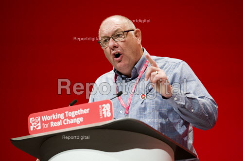 Dave Ward, CWU speaking Labour Party conference Liverpool. - Jess Hurd - 2016-09-26
