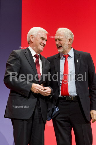 John McDonnell and Jeremy Corbyn, Labour Party conference Liverpool. - Jess Hurd - 2016-09-26