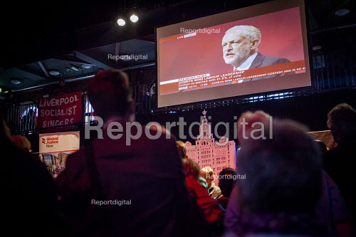 Corbyn supporters watching the live screening of the labour leadership election results, The World Transformed. Black-E, Liverpool - connor matheson - 2016-09-24