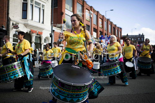Katumba drumming band. Protest against the closure of Liverpool Womens Hospital, The World Transformed, Black-E, Liverpool - connor matheson - 2016-09-25