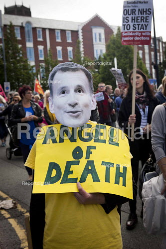 Angel of Death Jeremy Hunt mask. Protest against the closure of Liverpool Womens Hospital, The World Transformed, Black-E, Liverpool - connor matheson - 2016-09-25