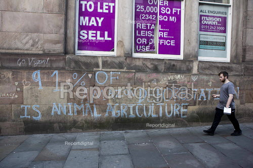 Vegan graffiti on the walls of a shop to Let or For Sale, Liverpool. 91 of Amazon deforestation is animal agriculture - connor matheson - 2016-09-25