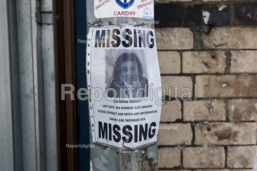 Missing person sign tied to a lampost. Cardiff, South Wales - Connor Matheson - 2016-07-31