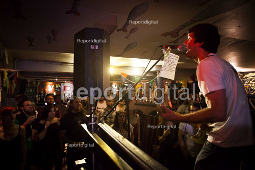 Punk band performing with lyrics attached to the microphone. Cardiff, South Wales - Connor Matheson - 2016-07-31