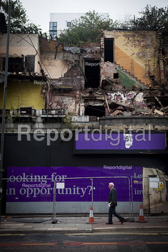 Looking for an opportunity? on a partly demolished building, Liverpool city center - Connor Matheson - 2016-08-25
