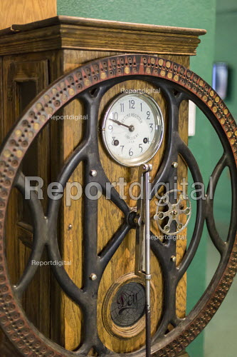 Leadville, Colorado, National Mining Hall of Fame Museum, a dial clock made by Dey Time Register Company, it was used at the Yak Tunnel in a gold mine - Jim West - 2016-09-19