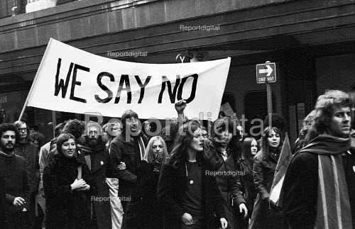 1972 Majority Rule for Zimbabwe Now protest, Trafalgar Square, London. We Say No banner carried by university students - MIke Tull - 1972-02-13