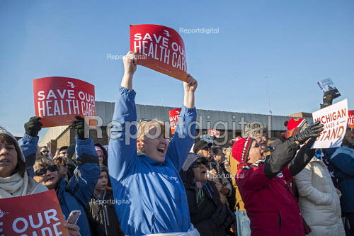 Detroit, Michigan USA, Save Health Care Rally, Day of Action opposing Republican proposals to repeal Obamacare, the Affordable Care Act (ACA) Enthusiastic Democrats - Jim West - 2017-01-15
