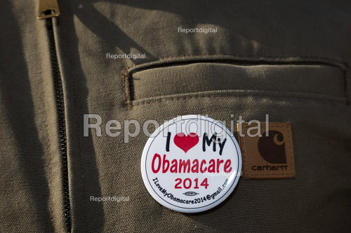 Detroit, Michigan USA, Save Health Care Rally, Day of Action opposing Republican proposals to repeal Obamacare, the Affordable Care Act (ACA). I love my Obamacare badge - Jim West - 2017-01-15