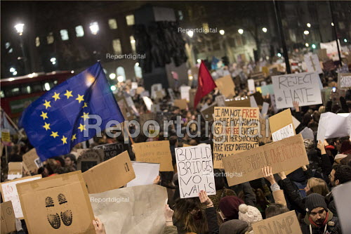 Thousands protest against American immigration ban and the invitation to President Donald Trump of a state visit, Westminster, London - Jess Hurd - 2017-01-30