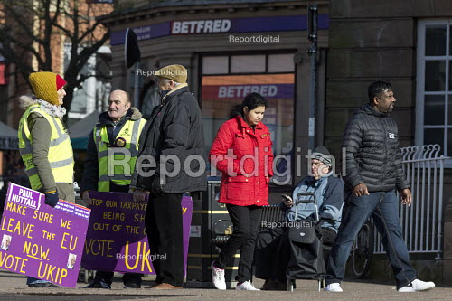 Supporters on the streets, Paul Nuttall UKIP By Election, Stoke on Trent Central, Staffordshire - John Harris - 2017-02-13