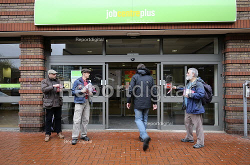 National Day of Action Against Sanctions. Leafleting claimants outside Cheylesmore Jobcentre Coventry. Unite Community say 100,000 claimants have have had their benefits suddenly stopped by sanctions in the last 12 months - John Harris - 2017-03-30