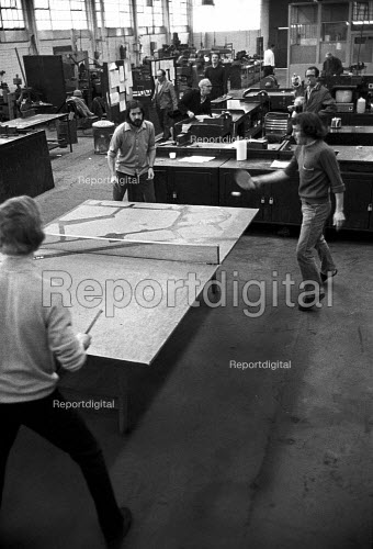 Workers occupying CAV Lucas factory Fazakerley, Liverpool 1972 against closure and redundancies as Lucas expand into Europe. Playing table tennis in the occupied factory - Martin Mayer - 1972-10-14