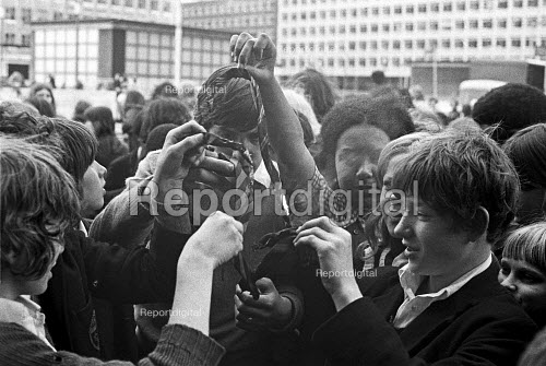 Burning school ties outside the Inner London Education Authority, School pupils strike protest, London 1972. Pupils on strike demanding more democracy in schools and an end to corporal punishment - NLA - 1972-05-09