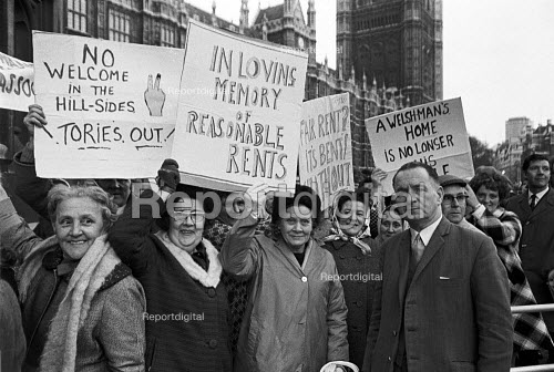 Council tenants from South Wales lobby Parliament in protest at the new Rent Act and the resulting high rents, London 1972 Housing Finance Act - NLA - 1972-03-28