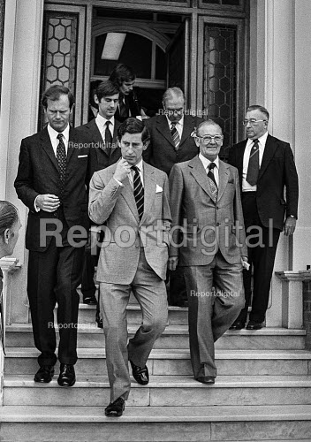 Prince Charles leaving the AUEW headquarters after visiting the union, Terry Duffy pres AUEW (R) - Peter Arkell - 1979-06-08