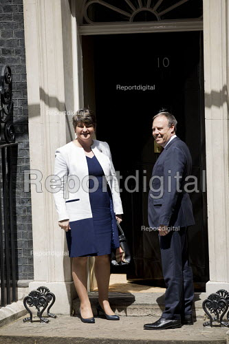 Arlene Foster and her DUP deputy Nigel Dodds arriving at 10 Downing Street for talks with Theresa May, London - Jess Hurd - 2017-06-13
