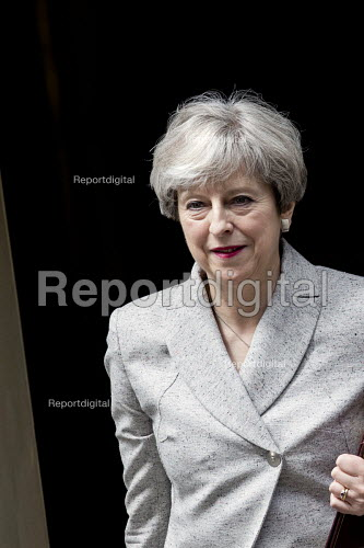Theresa May leaving 10 Downing Street after talks with the DUP, London - Jess Hurd - 2017-06-13