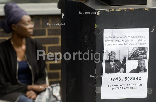 Grenfell Tower Fire. MIssing persons sign outside the Latymer Community Centre in West London just a few hundred metres from the tower block engulfed by fire overnight - Stefano Cagnoni - 2017-06-14