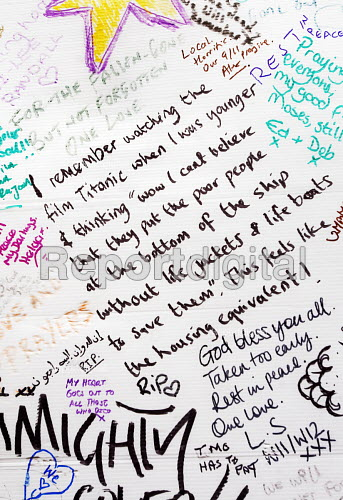 Wall of condolence a few hundred metres from the Grenfell Tower fire filled with messages of love and solidarity in memory of the victims of the tragedy, London. Refering to the film Titanic - Stefano Cagnoni - 2017-06-16