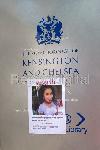 Grenfell Tower Fire. Missing Poster for school pupil Jessica Urbano placed on Royal Borough Of Kensington and Chelsea sign at Town Hall by her family and friends still searching for her three days after the fire, London - Stefano Cagnoni - 2017-06-16