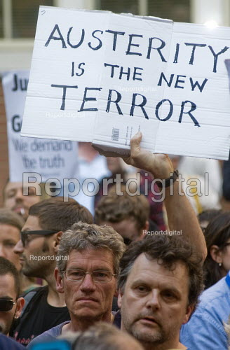 Grenfell Tower Fire. Justice For Grenfell rally outside the Department for Communities and Local Government, Westminster in protest at the injustice of lives lost in the tragedy, London. Austerity is the new terror - Stefano Cagnoni - 2017-06-16