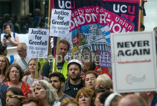 Grenfell Tower Fire. UCU trade union members, Justice For Grenfell rally outside the Department for Communities and Local Government, Westminster in protest at the injustice of lives lost in the tragedy, London - Stefano Cagnoni - 2017-06-16