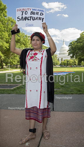 Washington DC, USA Transgender Rally for Equality at the Capitol. Organized by the National Center for Transgender Equality. Estrella Sanchez is Mexican, an asylum seeker and is tracked by immigration authorities by the GPS ankle monitor she must wear - Jim West - 2017-06-09
