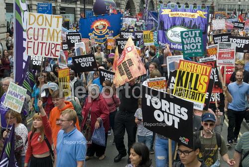 FBU and UNISON banners, Not One Day More protest demanding the Tory Government go and an end to austerity policies - Stefano Cagnoni - 2017-07-01