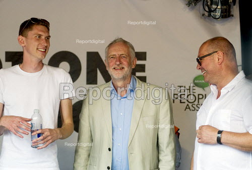 Jeremy Corbyn enjoying the crowds welcome, rally in Parliament Square, Sam Fairbairn ((L) Steve Turner UNITE (R) Not One Day More protest demanding the Tory Government go and an end to austerity policies - Stefano Cagnoni - 2017-07-01
