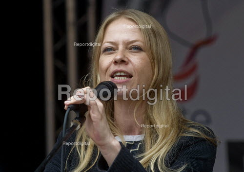 Sian Berry Green Party speaking, rally in Parliament Square. Not One Day More protest demanding the Tory Government go and an end to austerity policies - Stefano Cagnoni - 2017-07-01
