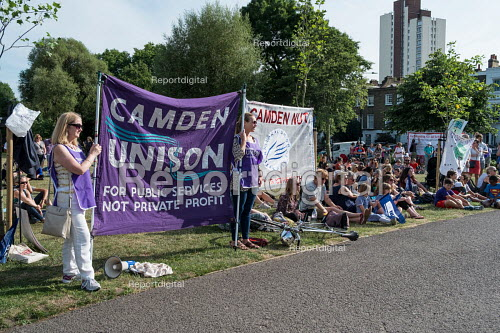 Pupils, parents and teachers at a Camden NUT rally to oppose cuts to school funding, Kentish Town, London. - Philip Wolmuth - 2017-07-04
